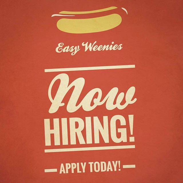 Easy Weenies is looking to bring on new team members! If you or anyone you know may be interested, please have them reach out to us for an application. Must Have: - Valid Drivers License - Non-Smoker - Food Experience preferred - Good Customer Service Skills - Clean and Dress Clean . . . . . .